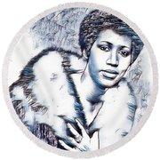 Aretha Franklin Portrait In Blue Round Beach Towel