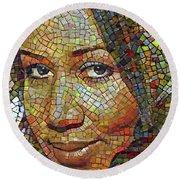 Aretha Franklin Tribute Mosaic Portrait 2 Round Beach Towel