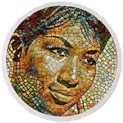 Aretha Franklin Tribute Mosaic Portrait 3 Round Beach Towel