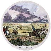 Argentina: Gauchos, 1853. Gauchos Catching Cattle On The Argentine Pampas. Wood Engraving, American, 1853 Round Beach Towel