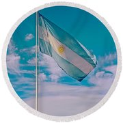 Argentinian Flag In Central Park In Bariloche-argentina  Round Beach Towel