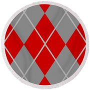 Argyle Diamond With Crisscross Lines In Paris Gray N02-p0126 Round Beach Towel