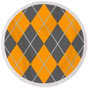 Argyle Diamond With Crisscross Lines In Pewter Gray T03-p0126 Round Beach Towel