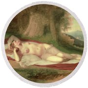Ariadne Asleep On The Island Of Naxos Round Beach Towel by John Vanderlyn