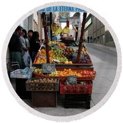 Arica Chile Fruit Stand Round Beach Towel