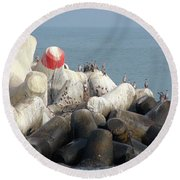 Arica Chile Sea Life Round Beach Towel