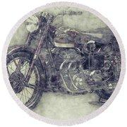 Ariel Square Four 1 - 1931 - Vintage Motorcycle Poster - Automotive Art Round Beach Towel