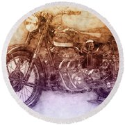 Ariel Square Four 2 - 1931 - Vintage Motorcycle Poster - Automotive Art Round Beach Towel