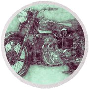 Ariel Square Four 3 - 1931 - Vintage Motorcycle Poster - Automotive Art Round Beach Towel