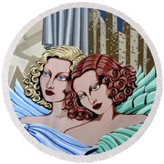 Arielle And Gabrielle Round Beach Towel by Tara Hutton