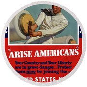 Arise Americans Join The Navy  Round Beach Towel