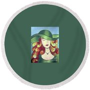 Aristocratic Lady Round Beach Towel