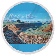The Goose Necks  Round Beach Towel