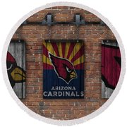 Arizona Cardinals Brick Wall Round Beach Towel