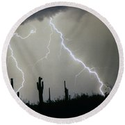Arizona Desert Storm Round Beach Towel
