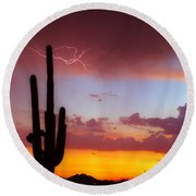 Arizona Lightning Sunset Round Beach Towel