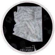 Arizona Map Music Notes 2 Round Beach Towel