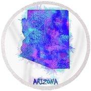 Arizona Map Watercolor 2 Round Beach Towel
