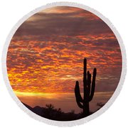 Arizona November Sunrise With Saguaro   Round Beach Towel
