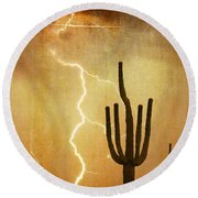 Arizona Saguaro Lightning Strike Poster Print Round Beach Towel