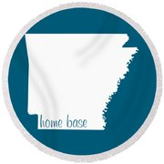 Arkansas Is Home Base White Round Beach Towel