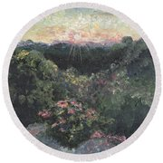 Arkansas Mountain Sunset Round Beach Towel by Nadine Rippelmeyer