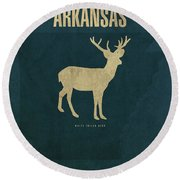 Arkansas State Facts Minimalist Movie Poster Art Round Beach Towel