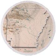 Arkansas State Usa 3d Render Topographic Map Neutral Border Round Beach Towel