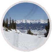 Arkansas Valley From Mount Elbert Colorado In Winter Round Beach Towel