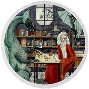 Arleas And The Wizard - Green Round Beach Towel
