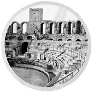 Arles Amphitheater A Roman Arena In Arles - France - C 1929 Round Beach Towel