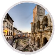 Arles Streets And Arena Round Beach Towel