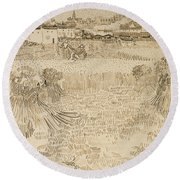 Arles View From The Wheatfields Round Beach Towel