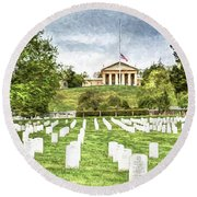 Arlington House Half Mast  Round Beach Towel