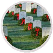 Arlington National Cemetery At Christmas Round Beach Towel
