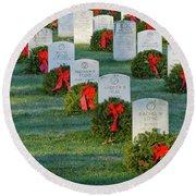 Arlington National Cemetery At Christmas Round Beach Towel