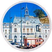 Armada De Chile In Valparaiso-chile  Round Beach Towel