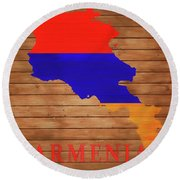 Armenia Rustic Map On Wood Round Beach Towel