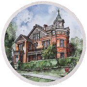 Armstrong Mansion Round Beach Towel