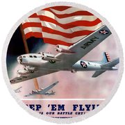 Army Air Corps Recruiting Poster Round Beach Towel
