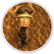 Army Guy Round Beach Towel
