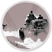 Army Reservists Summer Camp Tanks Death Valley California 1968-2016 Round Beach Towel