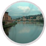 Arno River, Florence, Italy Round Beach Towel by Mark Czerniec