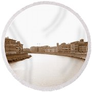 Arno River In Pisa Round Beach Towel