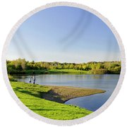 Around Barton Marina Lake Round Beach Towel
