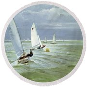 Around The Buoy Round Beach Towel by Timothy Easton