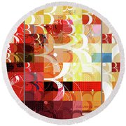 Arraygraphy - Sunset Inferno Triptych Round Beach Towel