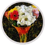 Arrangement In Confetti And Black Round Beach Towel