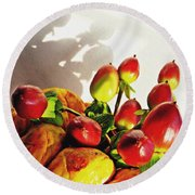 Arrangement On Squash 3 Round Beach Towel by Sarah Loft