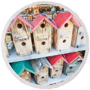 Array Of Handmade Birdhouses For Sale Round Beach Towel